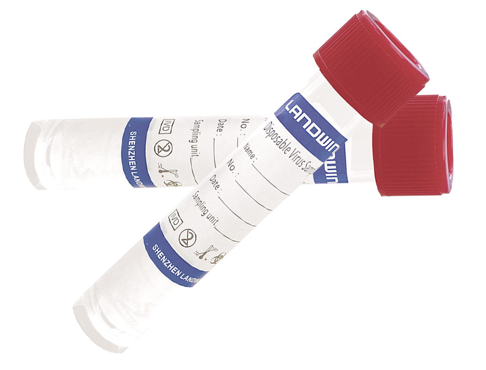 Disposable Tube-I (inactivating) for sampling contains guanidine hydrochloride, tris, and glycine